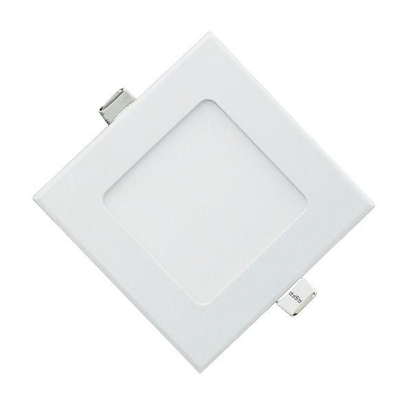 Plafon Led 9W de Embutir Slim Quadrado 14,6x14,6cm Completo - Luz Branca Fria e Quente