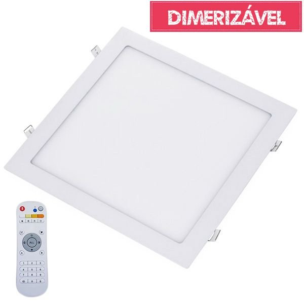 Plafon Led 24W Dimerizável com 4 Cores de Luz de Embutir Slim Quadrado 30x30cm - Luz 2.800K à 6.500K