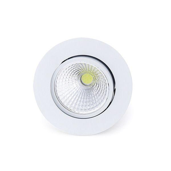 Spot Led Cob 7W Par 20 de Embutir Redondo Direcionável Ø8,5cm - Luz Branca Fria e Quente - Aro Branco