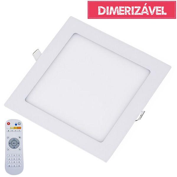 Plafon Led 18W Dimerizável com 4 Cores de Luz de Embutir Slim Quadrado 22x22cm - Luz 2.800K à 6.500K