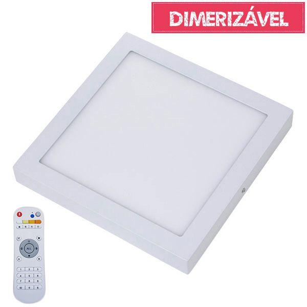 Plafon Led 24W Dimerizável com 4 Cores de Luz de Sobrepor Slim Quadrado 30x30cm - Luz 2.800K à 6.500K