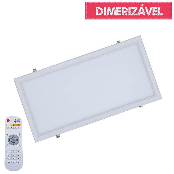 Luminária Led 30W Dimerizável com 4 Cores de Luz de Embutir Slim Retangular 30x60cm - Luz 2.800K à 6.500K
