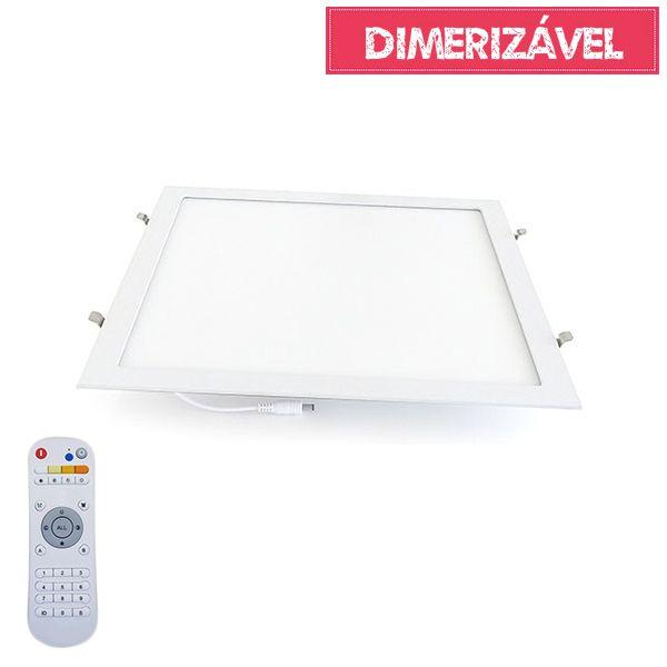 Luminária Led 36W Dimerizável com 4 Cores de Luz de Embutir Slim Quadrada 40x40cm - Luz 2.800K à 6.500K