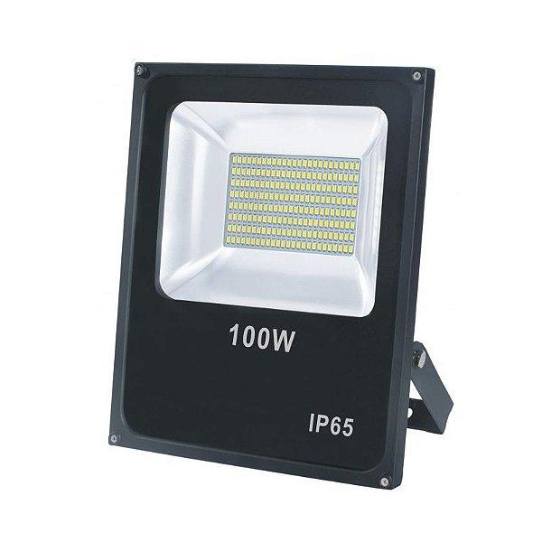 Refletor Led 100W SMD Slim Preto IP65 - Luz Branca Fria e Quente