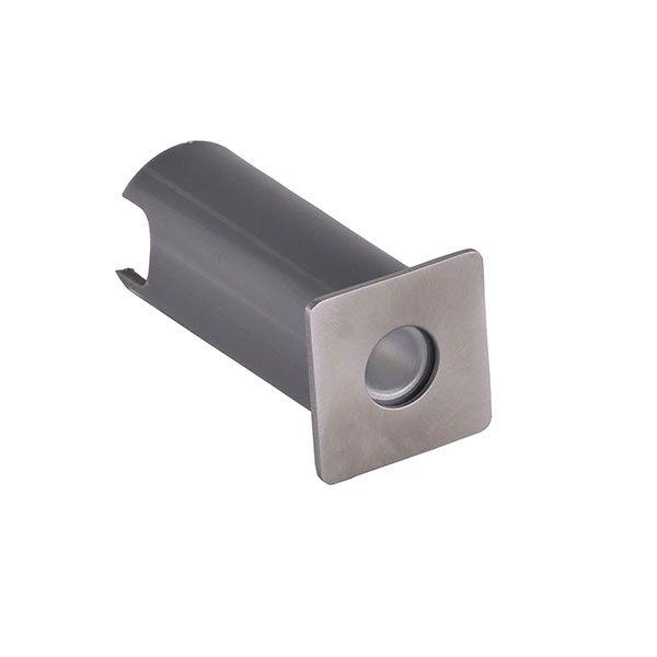 Balizador Led de Solo 1W Quadrado Aço Inox Prateado IP65 - Luz Branca Quente 3.000K