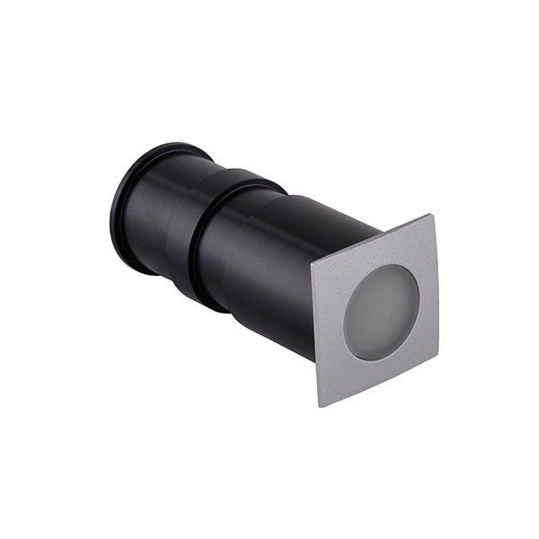 Spot Led Embutido de Solo 3W Quadrado IP65 - Luz Branca Fria e Quente - Aro Cinza
