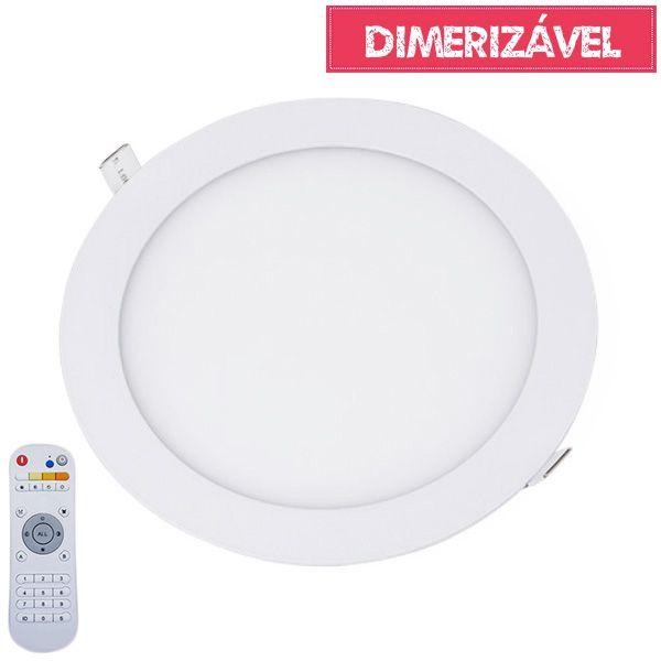 Plafon Led 24W Dimerizável com 4 Cores de Luz de Embutir Slim Redondo Ø30cm - Luz 2.800K à 6.500K