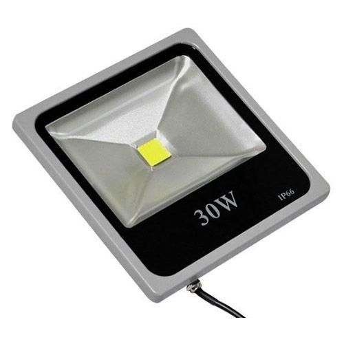 Refletor Led 30W Slim Cinza IP66 - Luz Branca Fria e Quente