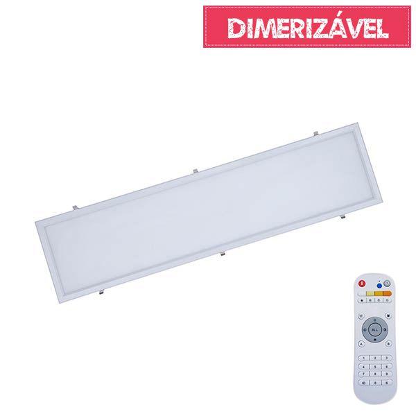 Luminária Led 60W Dimerizável com 4 Cores de Luz de Embutir Slim Retangular 30x120cm - Luz 2.800K à 6.500K
