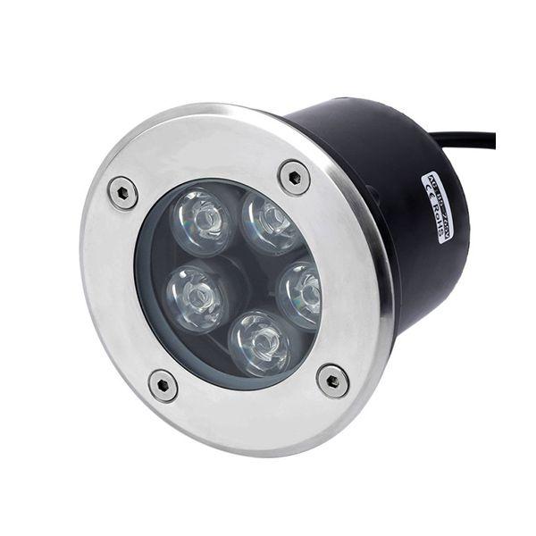 Balizador Led de Solo 5W Redondo IP67 - Luz Branca Fria e Quente