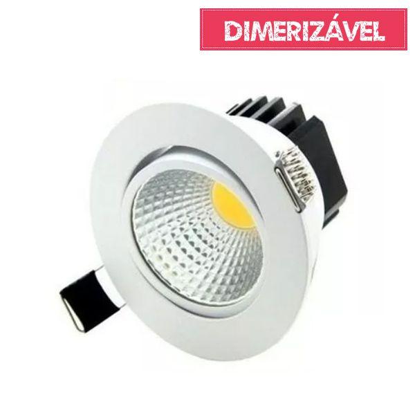 Spot Led Cob 5W de Embutir Dimerizável Redondo Direcionável Ø8,5cm - Luz Branca Fria e Quente