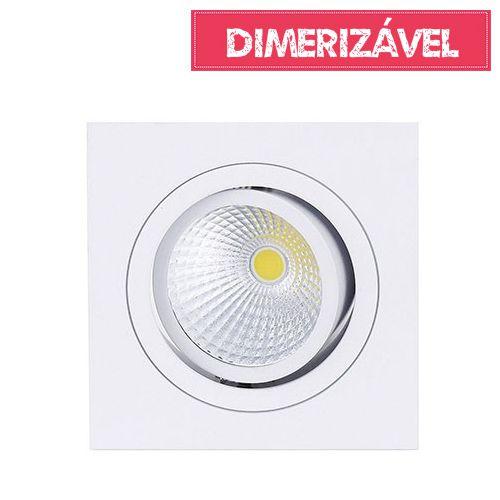 Spot Led Cob 7W de Embutir Dimerizável Quadrado Direcionável 9,2x9,2cm - Luz Branca Fria e Quente