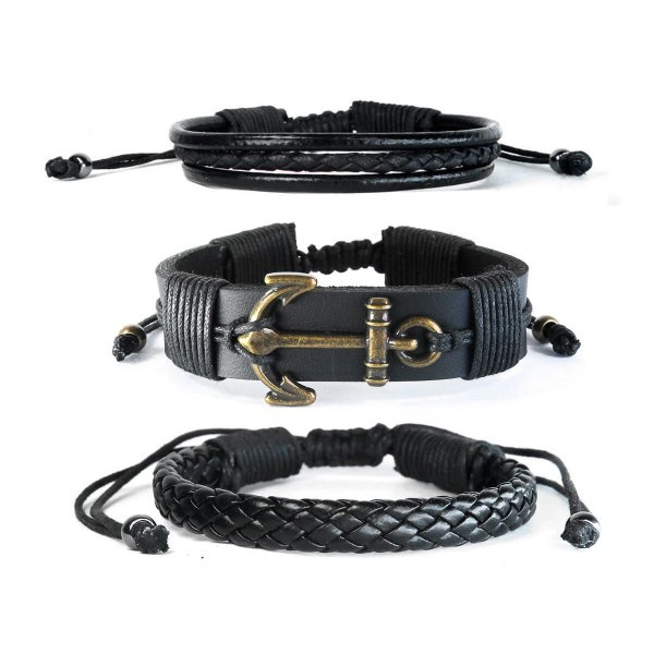 pulseiras Masculinas Âncora Negra Combo kit C/3