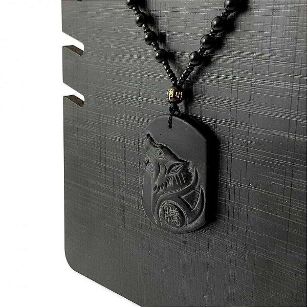 Colar Masculino Lobo Obsidiana Fosco