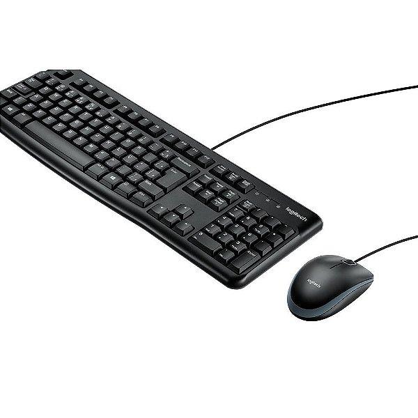 COMBO TECLADO E MOUSE COM FIO USB LOGITECH MK120 ABNT2