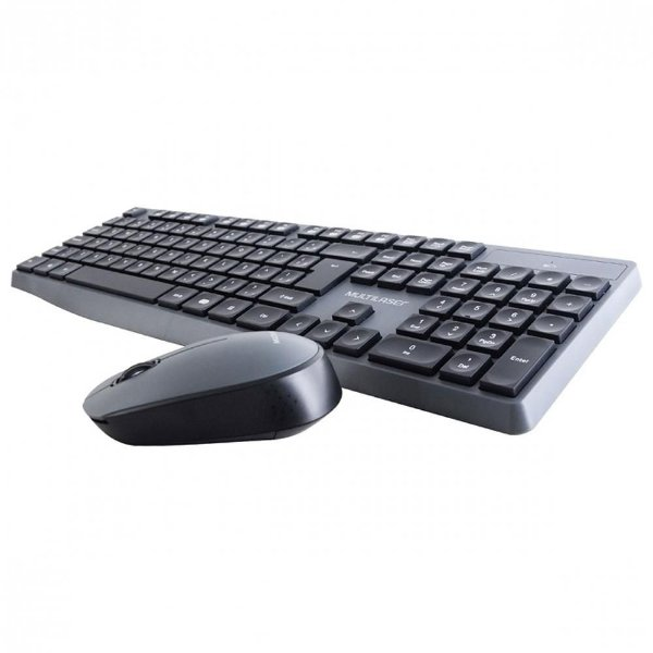 Teclado + Mouse Sem Fio Multilaser, ABNT2, Cinza/Preto - TC245