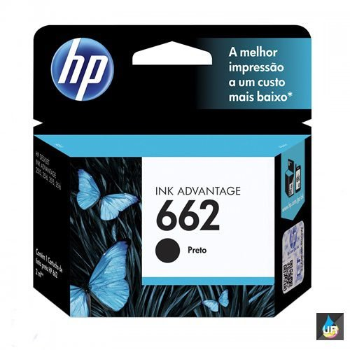 CARTUCHO HP 662 ORIGINAL PRETO - CZ103AB - 2ML 1516,3015,3016