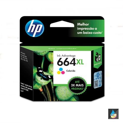 Cartucho HP 664XL color original (F6V30AB) Para HP Deskjet 2136, 2676, 3776, 5076, 5276 CX 1 UN
