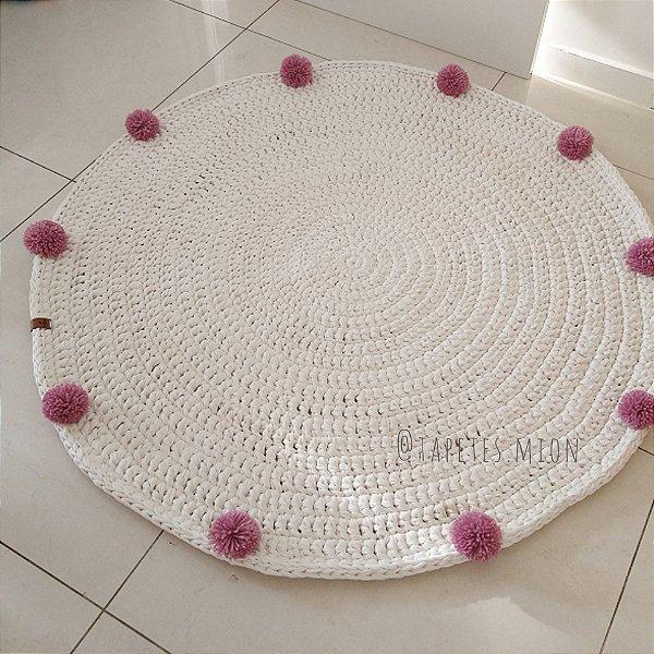 Tapete de crochê pompons 1,20 m