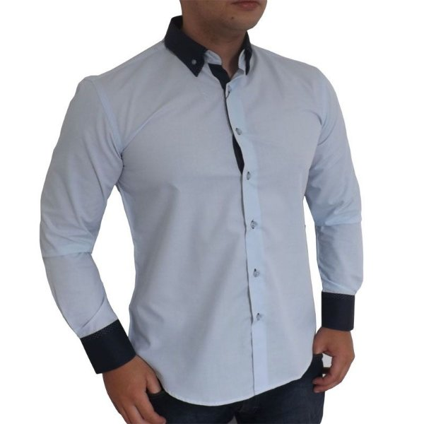 2f4dd3619f Camisa Social Slim Fit Masculina Vivacci azul claro - Socialmens ...