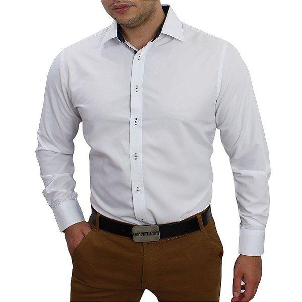 5cd37b66a1 Camisa Social Masculina Branca Slim Fit em Algodao Egipcio - até 48 ...