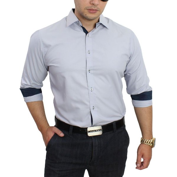 a2a511702e Camisa Social Masculina cinza claro Slim Fit Algodão Egipcio - até ...