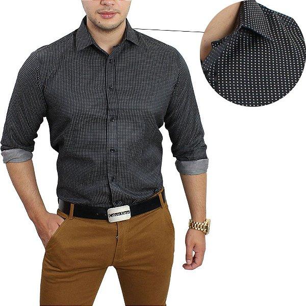 426a7f6cae Camisa Social Masculina Slim Fit Preta pontilhada - até 48% OFF ...