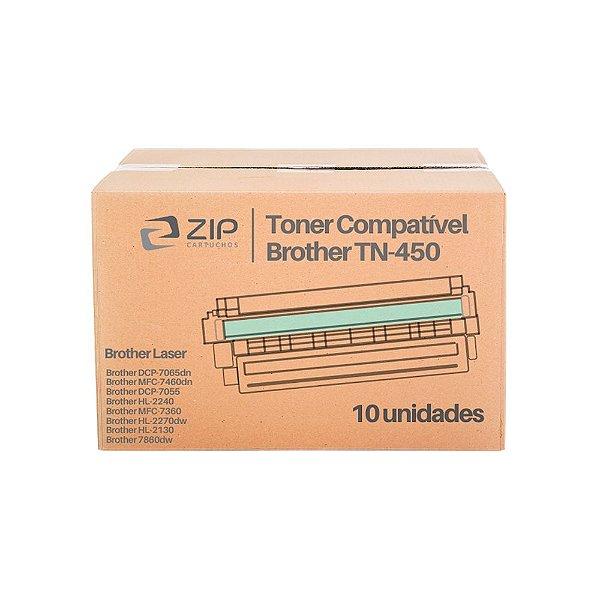 Kit de Toner Brother DCP-7065N | TN-450 Preto Compatível 10un