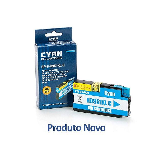 Cartucho HP 951 | HP 951XL | CN046AB Officejet Pro Ciano Compatível 19,5ml
