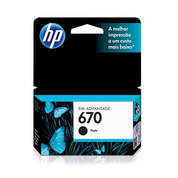 Cartucho HP 4625 | 5525 | CZ117AB | HP 670 Preto Original 7,5ml
