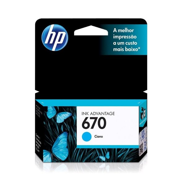 Cartucho HP 5525 | 4615 | CZ118AB | HP 670 Ciano Original 3,5ml