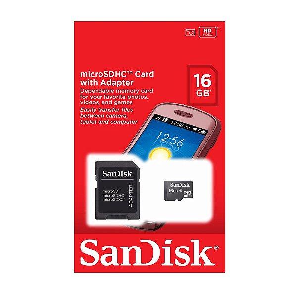 Cartão de Memória Micro SD 16GB Sandisk com Adaptador SD