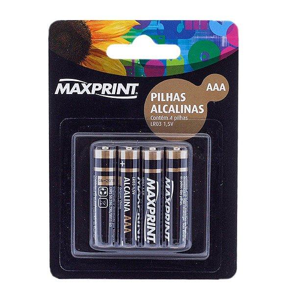 Pilha Palito AAA Alcalina Maxprint 1,5v com 04 Unidades