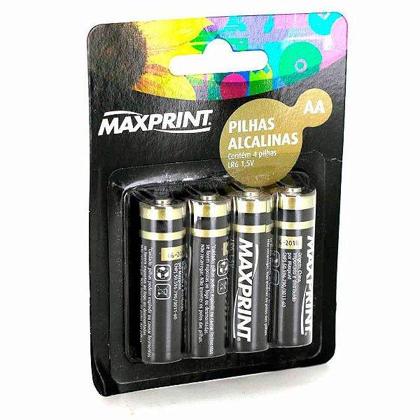 Pilha AA Alcalina Maxprint 1,5v com 04 Unidades