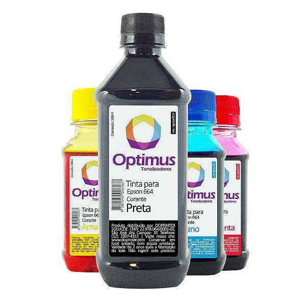 Kit de Tintas Epson L455 Preta 500ml + Coloridas 100ml Optimus