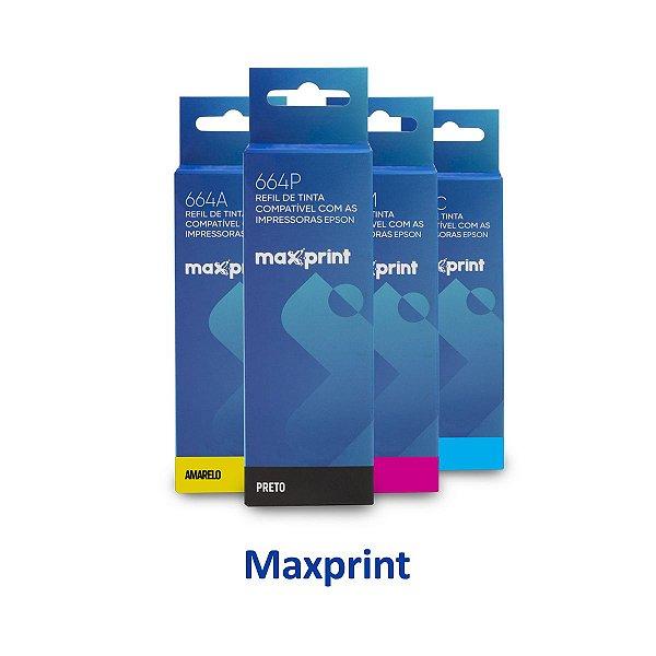 Kit de Tinta Epson L575 | T664120 | 664 EcoTank Maxprint Preta + Coloridas 100ml