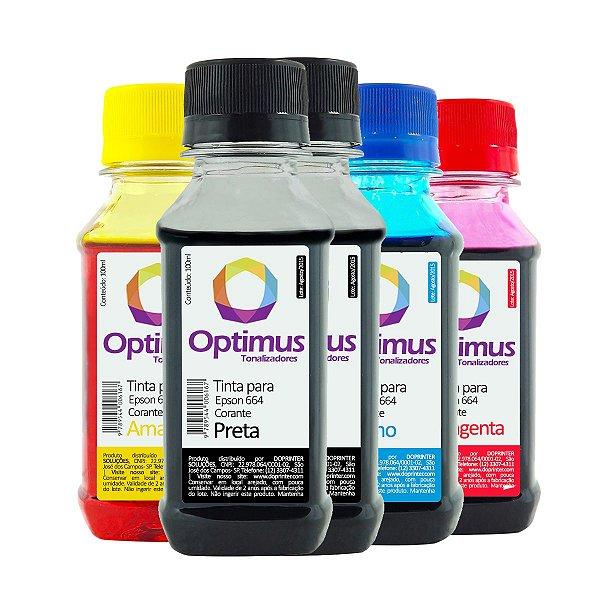 Kit de Tintas Epson L210 Preta 200ml + Coloridas 100ml Optimus