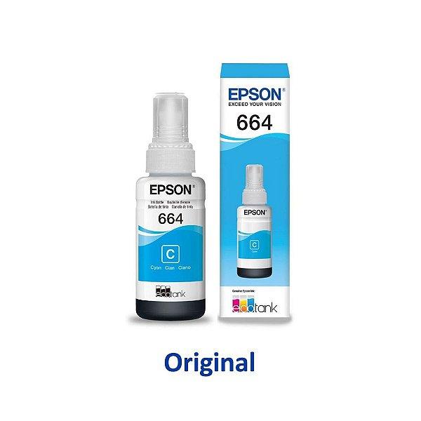 Tinta Epson Original L395   T664220   664 EcoTank Ciano 70ml