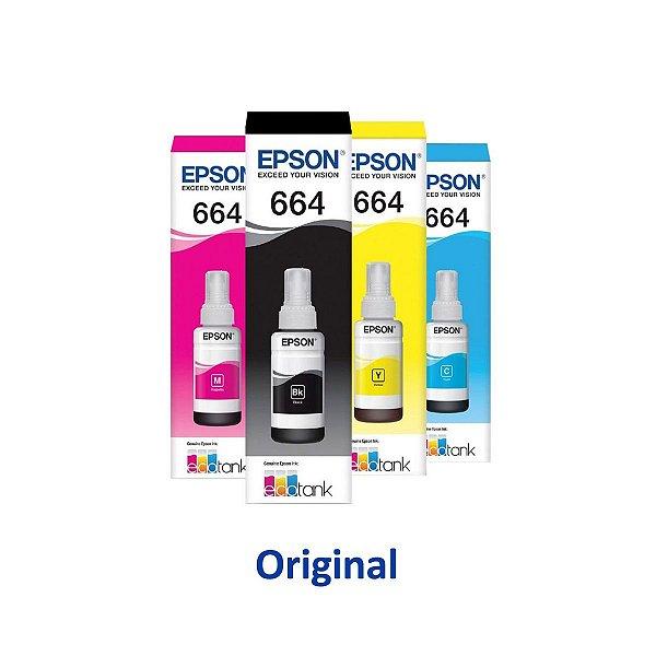 Kit 4 Tinta Epson L395 | T664120 | 664 EcoTank Original Preta + Coloridas 70ml