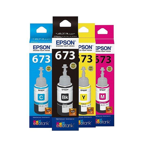 Kit 4 Tintas Epson L1800 | 673 | T673120 EcoTank Originais 70ml