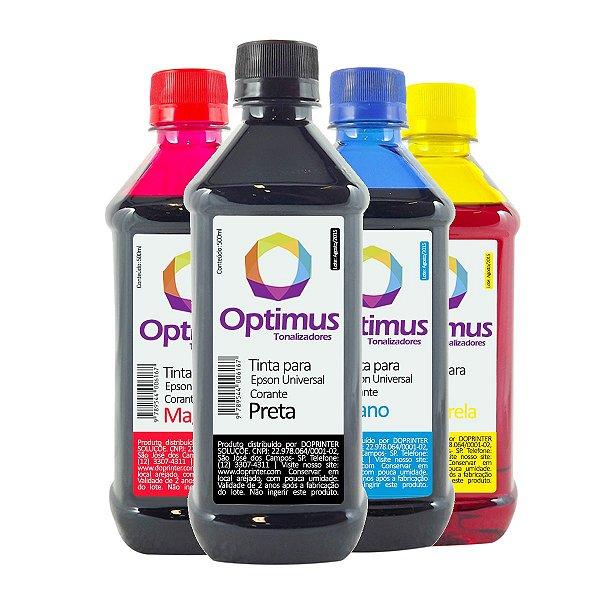 Kit de Tintas Epson EcoTank L495 Optimus Preta + Coloridas 500ml