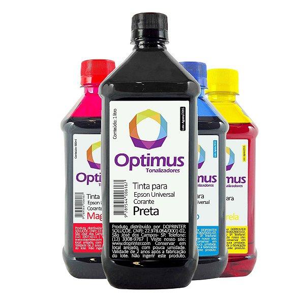 Kit de Tintas Epson L805 Preta 1 litro + Coloridas 500ml Optimus
