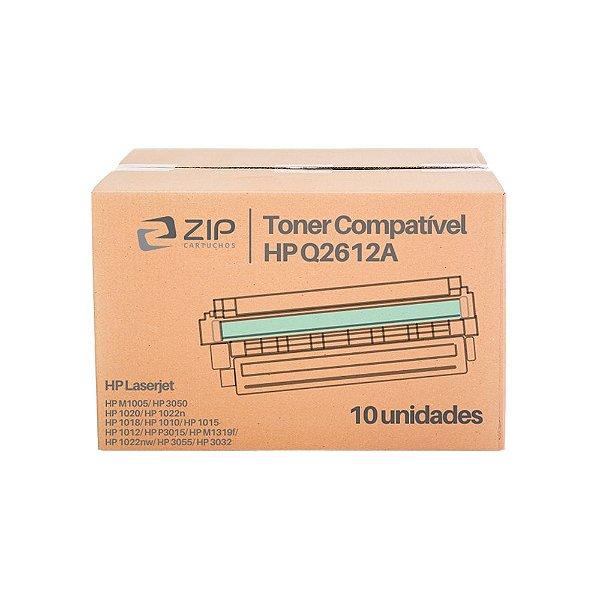 Kit de Toner HP 1022n   Q2612A Laserjet Preto Compatível 10un