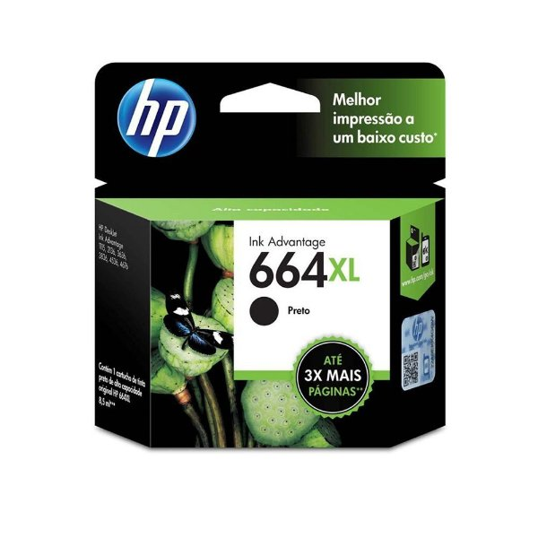 Cartucho HP 2136 | HP 664XL | F6V31AB Deskjet Ink Advantage Preto Original 4,5ml