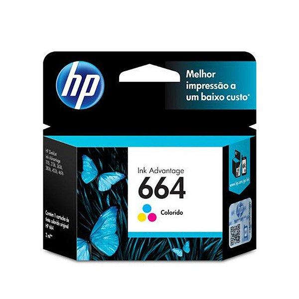 Cartucho HP 4536 | HP 664 | F6V28AB Deskjet Ink Advantage Colorido Original 2ml