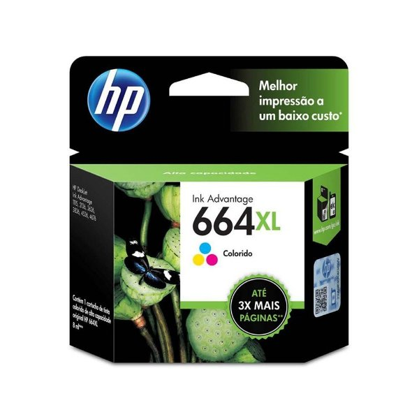Cartucho HP 4535 | HP 664XL | F6V310AB Deskjet Ink Advantage Colorido Original 8ml