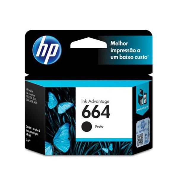Cartucho HP 2675 | HP 664 | F6V29AB Deskjet Ink Advantage Preto Original 2ml