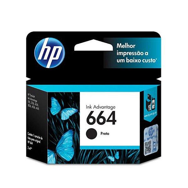 Cartucho HP 4535 | HP 664 | F6V29AB Deskjet Ink Advantage Preto Original 2ml