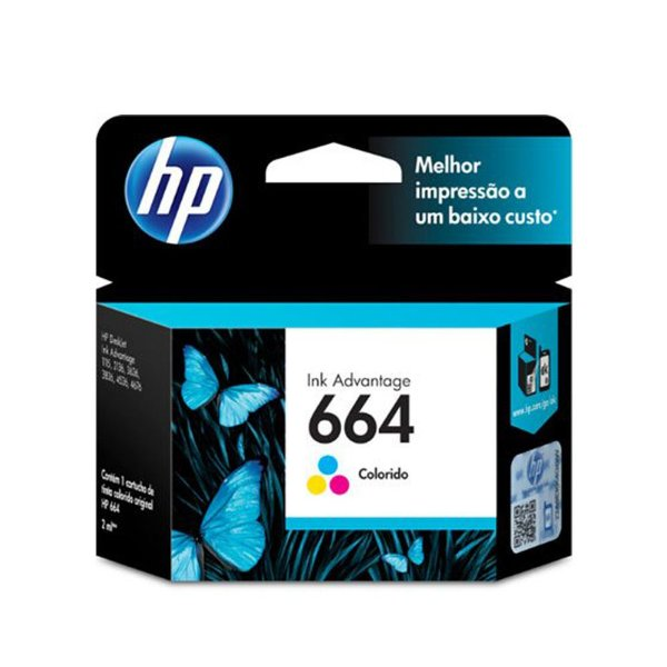 Cartucho HP 3836 | HP 664 | F6V28AB Deskjet Ink Advantage Colorido Original 2ml