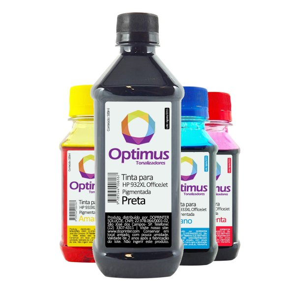 Kit de Tinta HP 933XL | HP 7110 OfficeJet Pigmentada Preta 500ml + Coloridas 100ml
